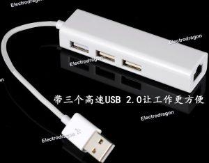1-To-3 USB Hub wEthernet Port 5