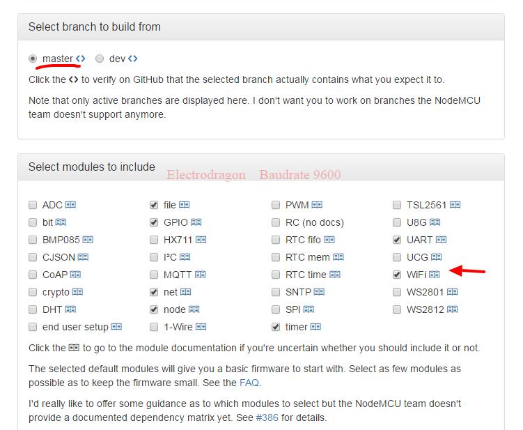 NodeMCU custom builds master branch 03